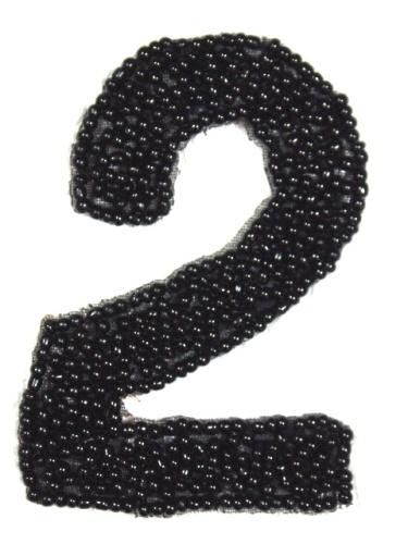 K4  Black Beaded Number ( 2 ) Applique  2.5\