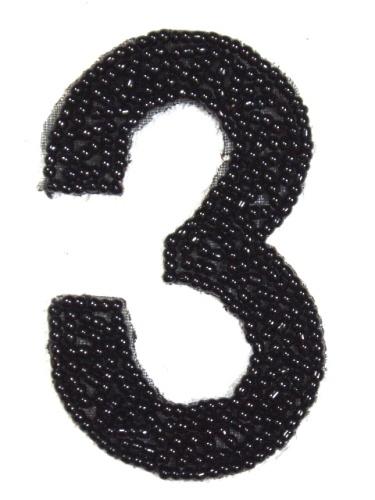 K4  Black Beaded Number ( 3 ) Applique  2.5\
