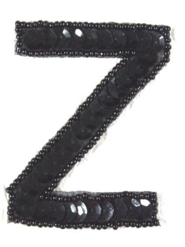 K2  Black Sequin Letter ( Z ) Applique  2.75\