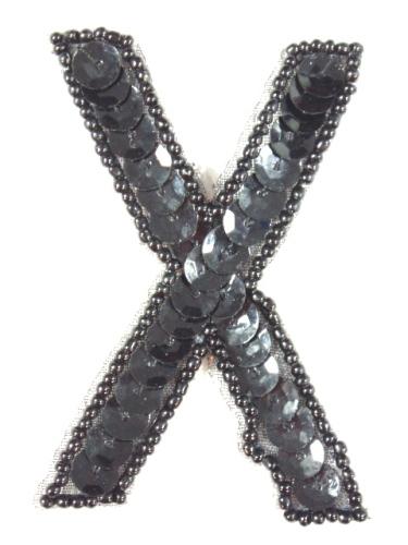 K2  Black Sequin Letter ( X ) Applique  2.75\