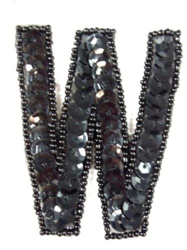 K2  Black Sequin Letter ( W ) Applique  2.75\