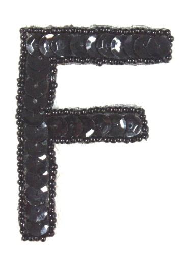 K2  Black Sequin Letter ( F ) Applique  2.75\
