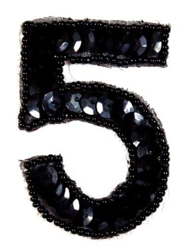 K3  Black Sequin Number ( 5 ) Applique  2.5\