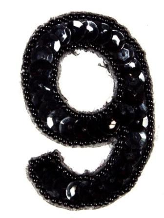 K3  Black Sequin Number ( 9 ) Applique  2.5\