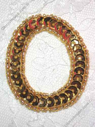 0464  Gold Letter ( O ) Sequin Beaded Applique  2