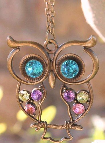 GB27 Unique Vintage Colorful Rhinestone Fashion Owl Necklace Chain