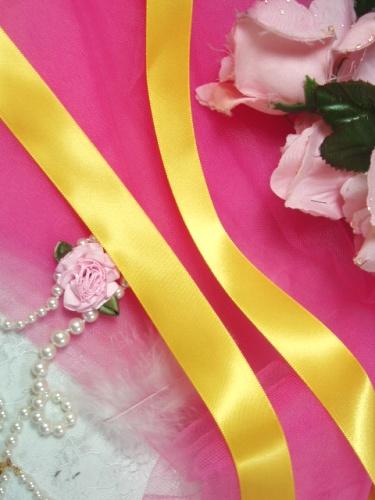 R1  Yellow Gold Satin Craft Ribbon 7/8