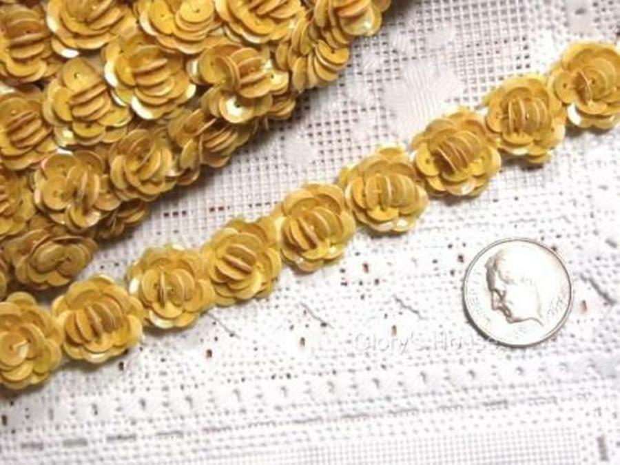 T8280 Mustard Yellow Flower Sequin Appliques or Trim