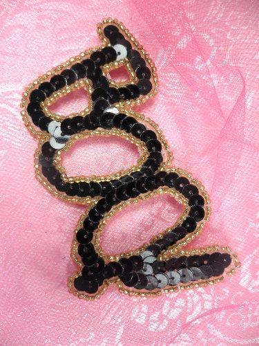 SA139 Black Gold Boo Sequin Applique w/Beads 3.5\