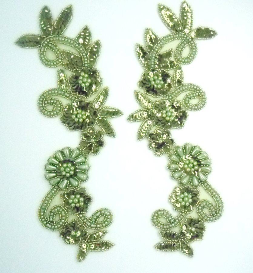 Appliques Sequin Beaded Olive Green Mirror Pair Costume Designer Motifs 10  0183X