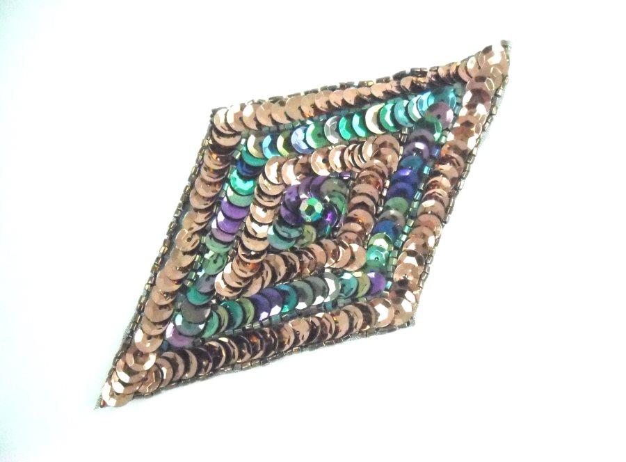 Diamond Sequin Applique Bronze Peacock  FS475