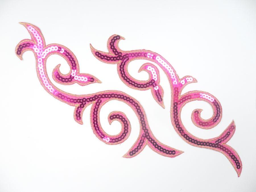 Sequin Embroidered Appliques Fuchsia Gold Designer Mirror Pair Iron on 9 (GB505X)