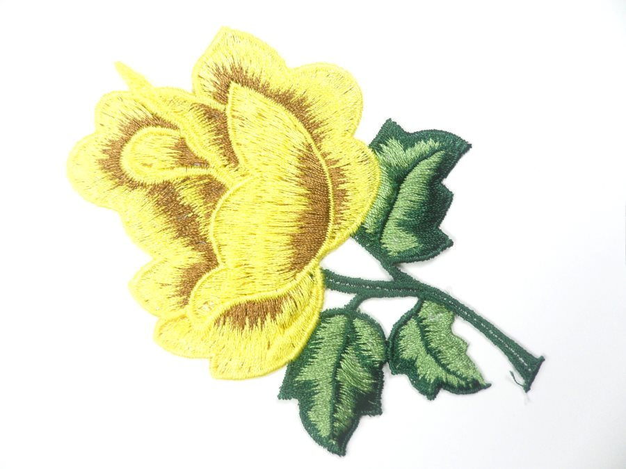 Floral Embroidered Applique Yellow Brown Dance Costume Craft Patch 4.5 GB701