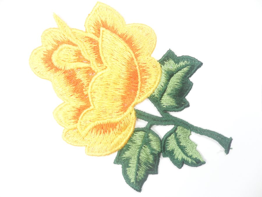 Floral Embroidered Applique Yellow Orange Dance Costume Craft Patch 4.5 GB701