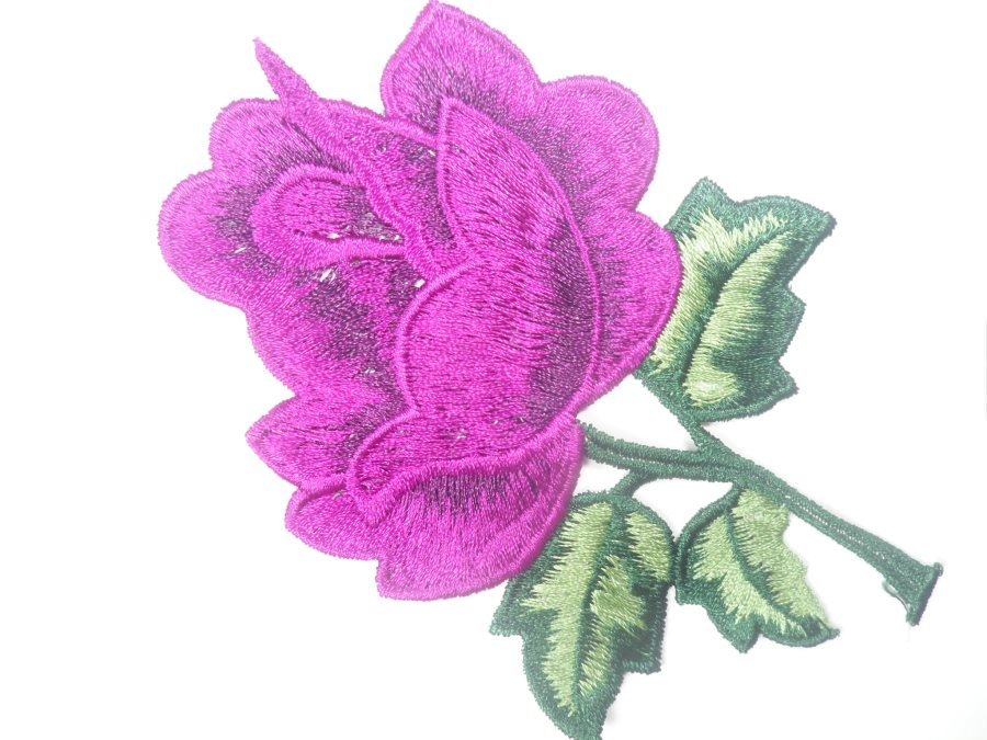 Floral Embroidered Applique Puprle Dance Costume Craft Patch 4.5 GB701