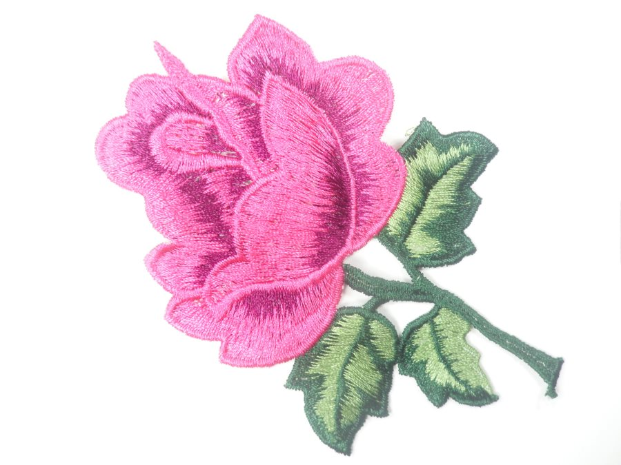 Floral Embroidered Applique Fuschia Dance Costume Craft Patch 4.5 GB701
