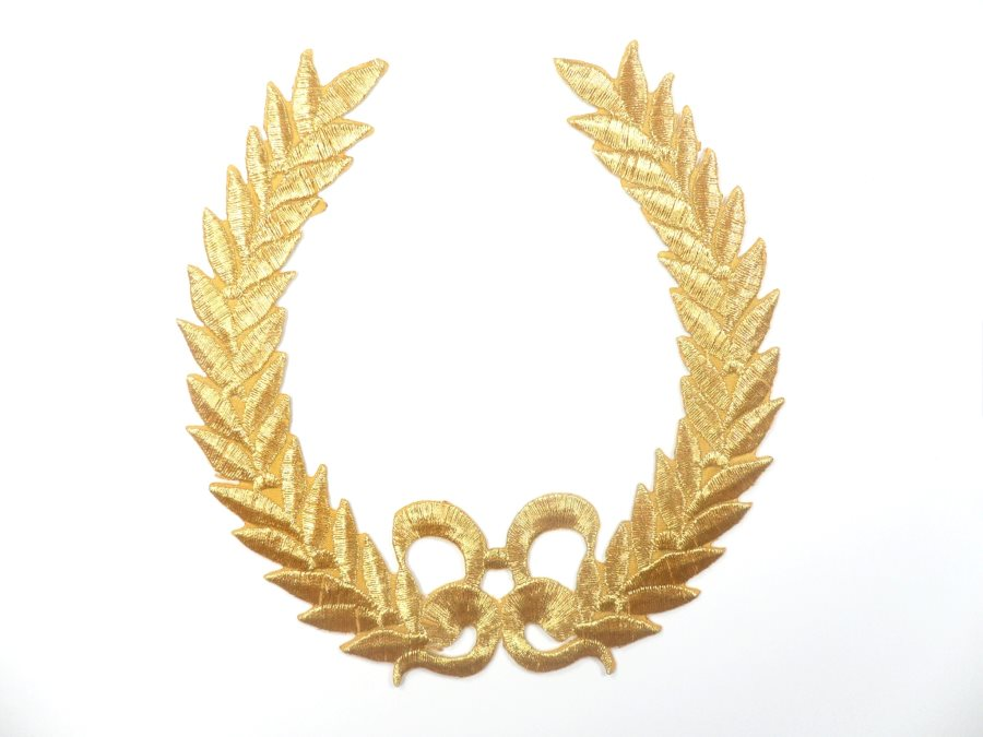 Gold Embroidered Applique Metallic Designer Scroll Motif 5.5 GB683