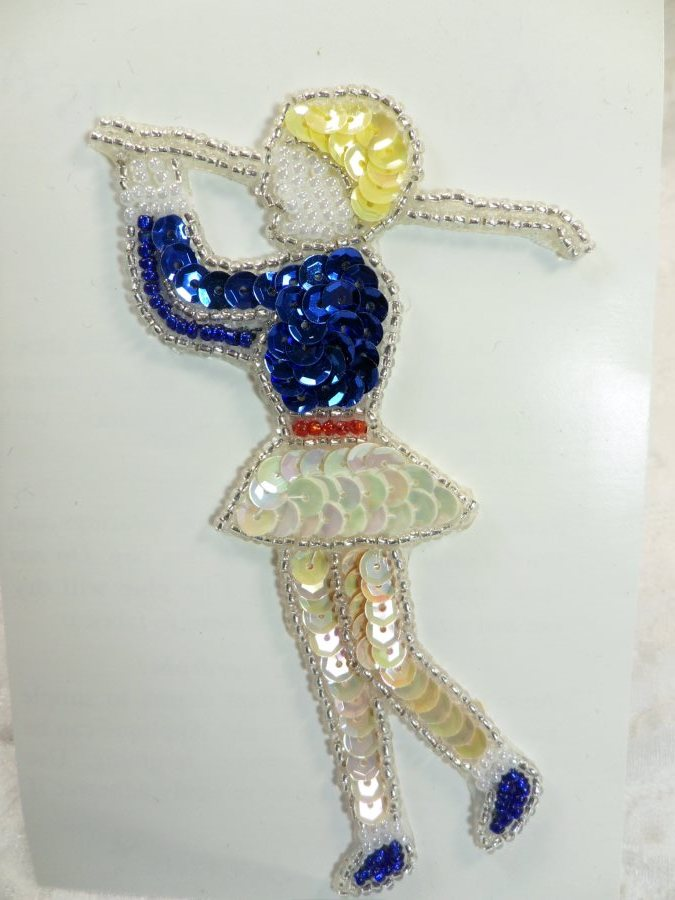 Self Adhesive Golf Sequin Applique Beaded Patch Motif Sewing Crafts Supplies 4.5 (LC1867)
