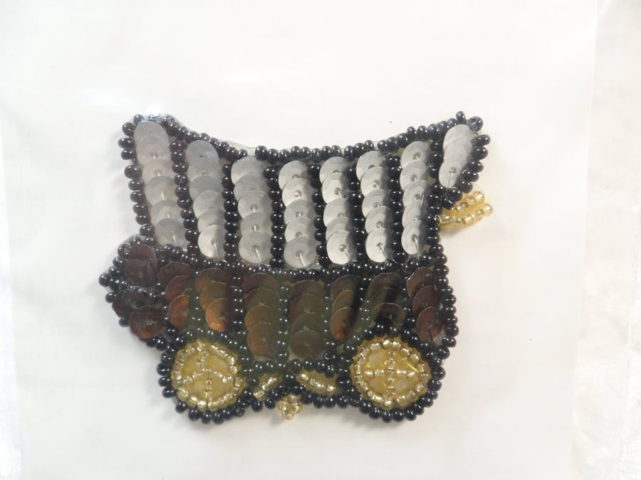 Self adhesive western sequin applique beaded patch motif sewing