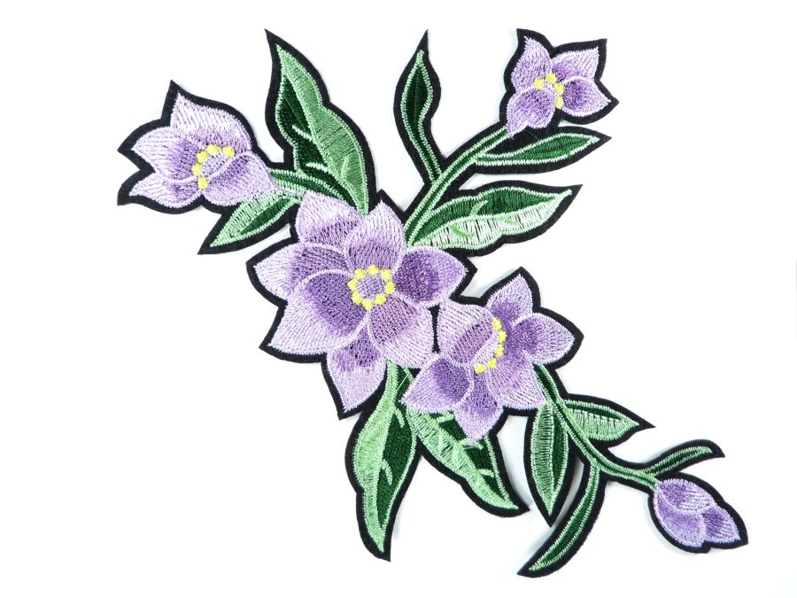 Floral Embroidered Applique Lavender Crafting Motif Clothing Patch 8 GB722