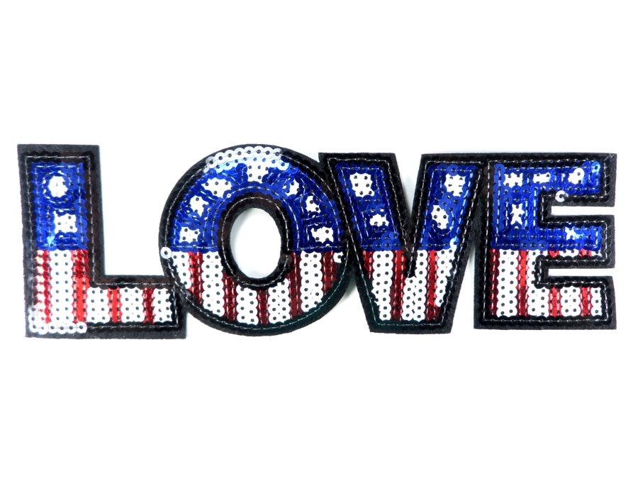 Love Applique Sequin Patriotic Red White Blue Iron On Craft Patch 9.25 GB703-pat