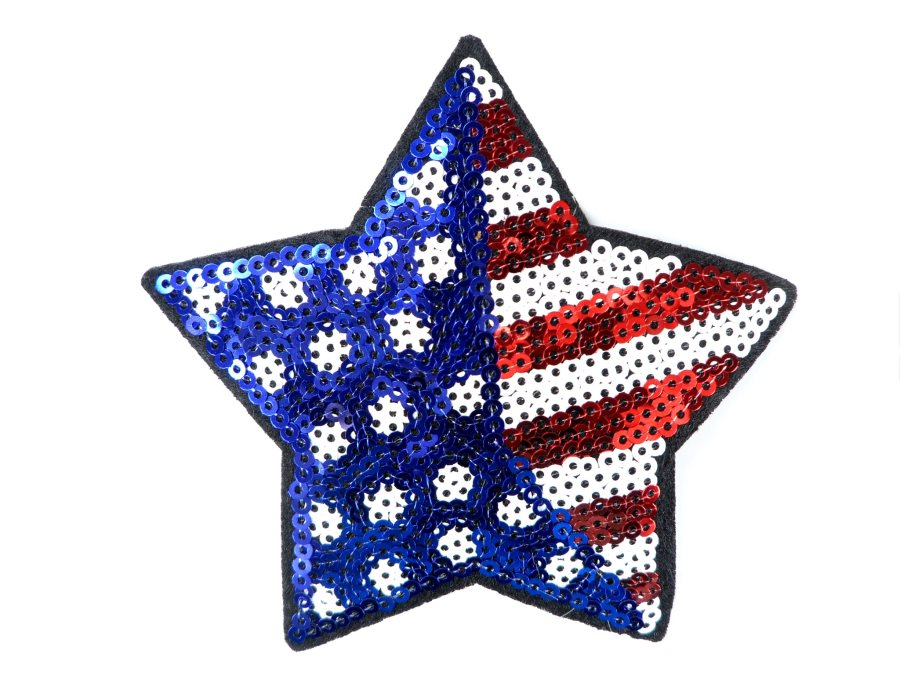 Star Applique Sequin Patriotic Red White Blue Iron On Patch 4 GB705