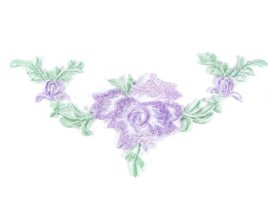 Floral Embroidered Applique Lavender Dance Costume Craft Patch 4.75 GB700