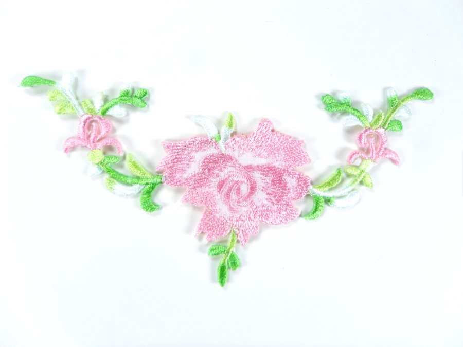 Floral Embroidered Applique Pink Dance Costume Craft Patch 4.75 GB700