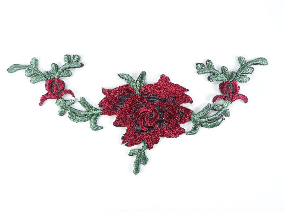 Floral Embroidered Applique Burgundy Wine Dance Costume Craft Patch 4.75 GB700