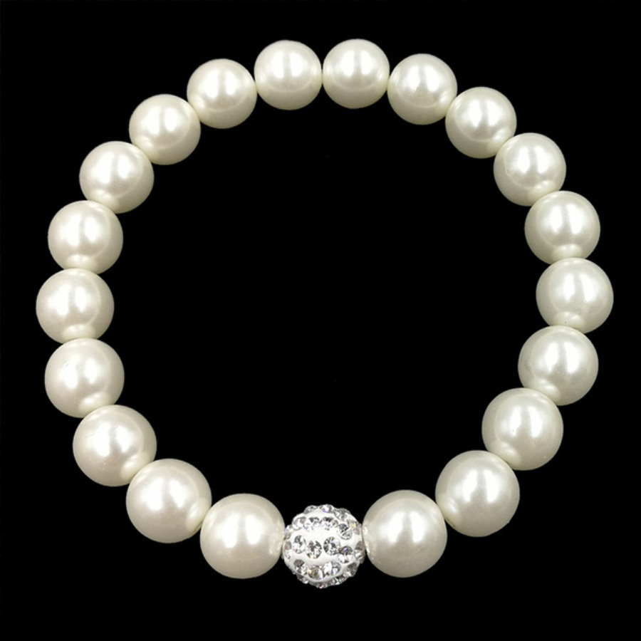 Stretchy Bracelet Pearls With Single Crystal Sparkling Bead Fashion Costume Jewelry JW65