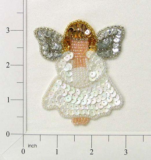 E868s Religious Angel Sequin Beaded Applique 3\