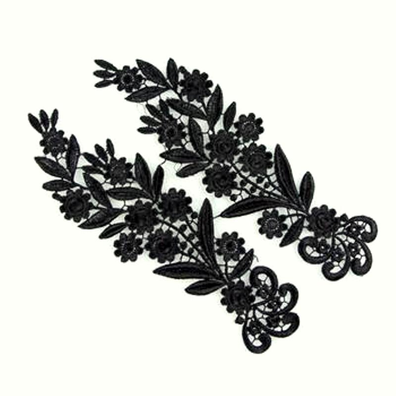 Black Mirror Pair Lace Appliques Embroidered Motifs 10.5 (Y10)