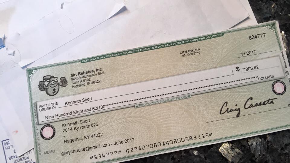 rebate check mr rebates it works!