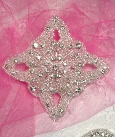 RMXR207 REDUCED Crystal Glass Silver Beaded Rhinestone Applique 4""
