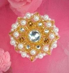 0005  Gold Jewel  Pearl Beaded Applique