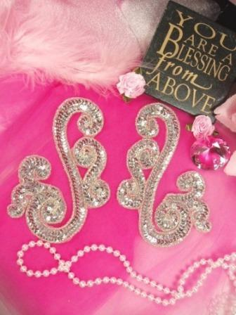 0013 Silver Scroll Mirror Pair Sequin Beaded Appliques