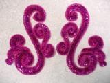 Fuchsia Scroll Mirror Pair Sequin Beaded Appliques