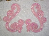 Pink AB Scroll Mirror Pair Sequin Beaded Appliques 0013
