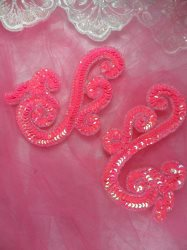 0013 Hot Pink Scroll Mirror Pair Sequin Beaded Appliques