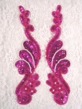 "0016 Fuchsia Pearl Mirror Pair Sequin Beaded Appliques 8.5"""