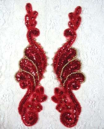 """Red Sequin Appliques Beaded Edge accented with Gold Mirror Pair Ballet Motifs 8"""" (0016X)"""
