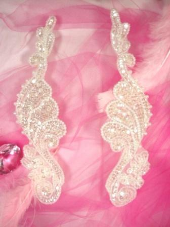 0016  Crystal Mirror Pair  Sequin Beaded Appliques 8""