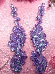 """0016 Mirror Pair Lavender AB Sequin Beaded Appliques 8"""""""