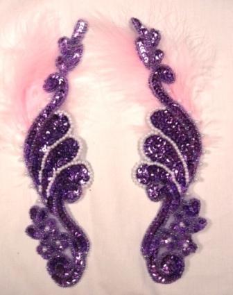 """0016  Lavender Metallic Mirror Pair  Sequin Beaded Appliques 8"""""""