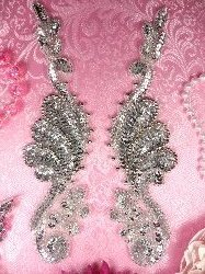"0016 Sequin Beaded Appliques Mirror Pair Silver 8.5"""