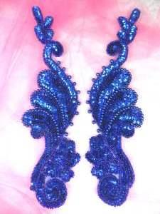 """0016 Appliques Blue Mirror Pair Beaded Sequin 8.5"""""""