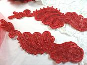 "Red Sequin Appliques Beaded Edge Mirror Pair Ballet Motifs 8"" (0016X)"