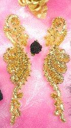 "0016  Gold Mirror Pair  Sequin Beaded Appliques 8"""