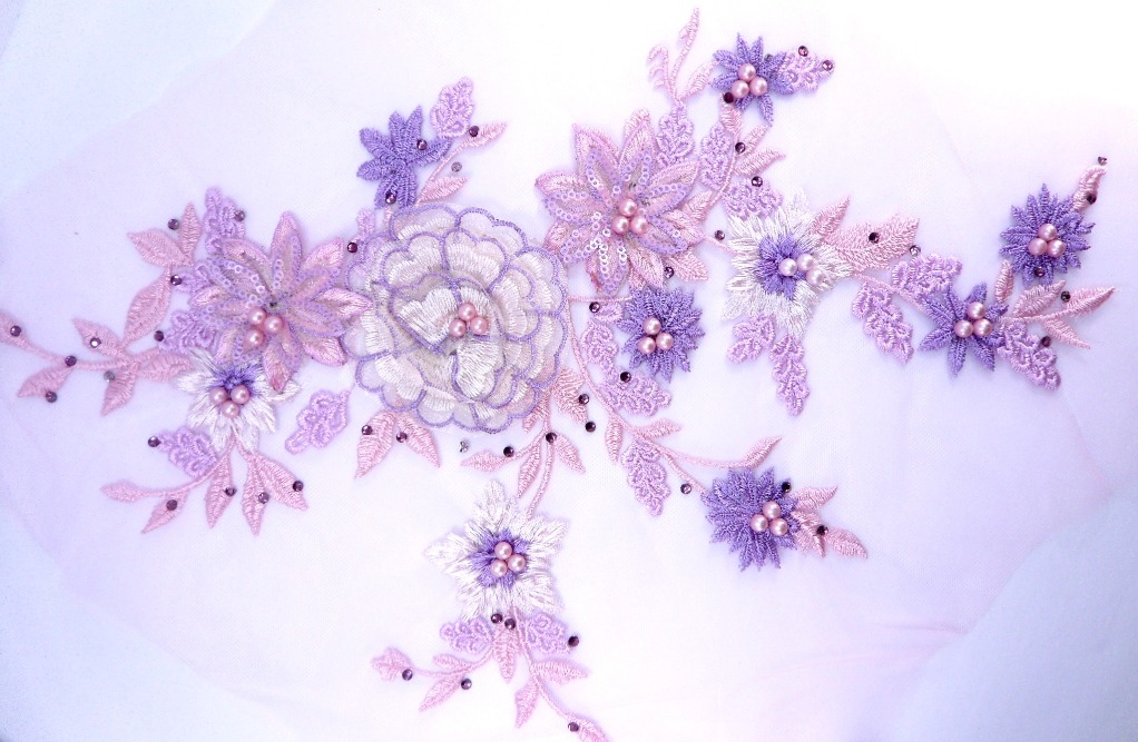 "Three Dimensional Applique Embroidered Lace Lavender Pink Sewing Dance Motif Floral Design 15"" BL135"