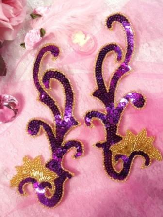 """0020  Purple and Gold Mirror Pair Sequin Beaded Appliques 8"""""""